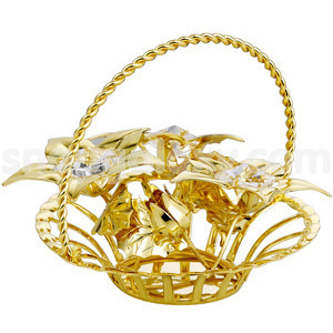 flower basket gold plated with swarovski crystals