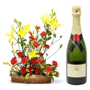 flowers lilies wine basket