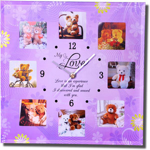 for love quotation clock with 8 photos frame