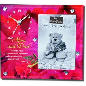 for mom and dad photo frame with clock
