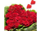 HeartShape Arrangement of 40 Red Roses With 2 Heart Shape Candles on Valentine