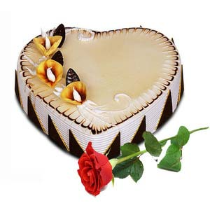 gai heartshape vanilla cake 1 5 kg and rose on valentine gaiv1520