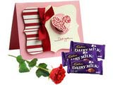 Love Greetings with Chocolates and Rose