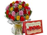 Mix Coloured 25 Roses Bunch With Valentine\