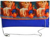 Traditional Digital Print Dark Blue Clutch Cum Sling Bag