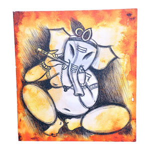 Sri Ganesh in Krishna Avatar, Mounted Canvas - image