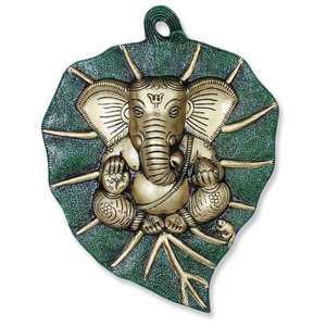 ganesha on leaf wall hanging gift