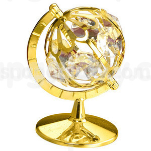 globe large gold plated with swarovski crystals