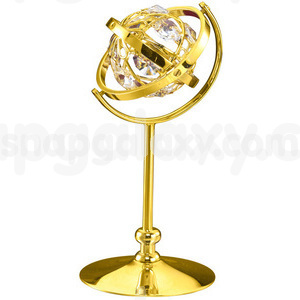 globe on stand large gold plated with swarovski crystals
