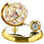 globe with clock gold plated with swarovski crystals