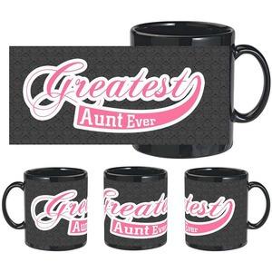 greatest aunt black mug