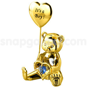 greeting bear its a boy gold plated with swarovski crystals