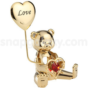 greeting bear with love gold plated with swarovski crystals