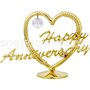 heart happy anniversary gold plated with swarovski crystals