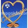 heart with congratulations gold plated with swarovski crystals