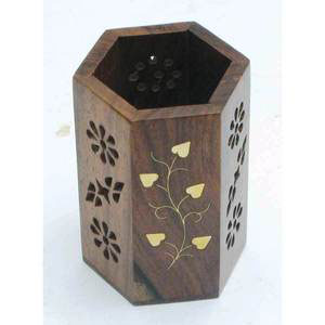 hexagonal pen holder sheesham wood gift