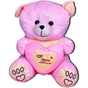 huggable pink teddy bear with love