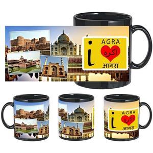 i love agra black mug