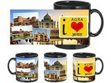I Love Agra Black Mug