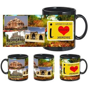 i love ahmedabad black mug