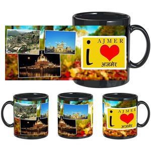 i love ajmer black mug