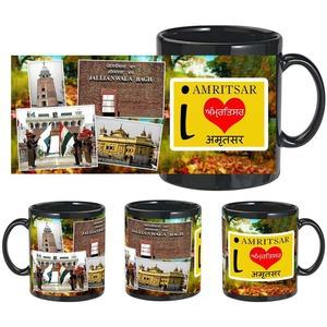 i love amritsar black mug