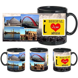 i love bhopal black mug