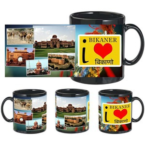 i love bikaner black mug