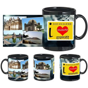 i love davanagere black mug