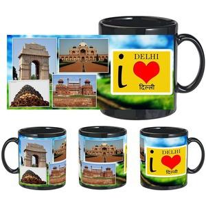 i love delhi black mug