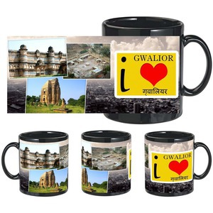 i love gwalior black mug