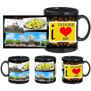 i love indore black mug
