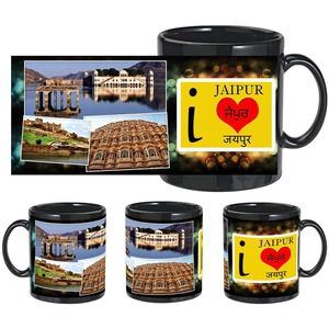 i love jaipur black mug