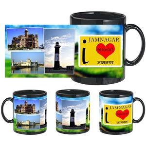 i love jamnagar black mug