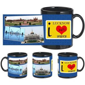 i love lucknow black mug