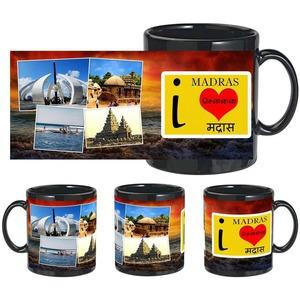 i love madras black mug