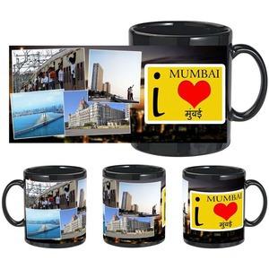 i love mumbai black mug