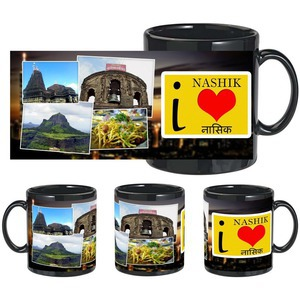 i love nashik black mug