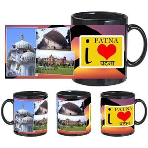i love patna black mug