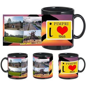 i love pimpri black mug