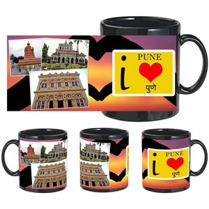 i love pune black mug