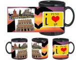 I Love Pune Black Mug