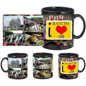 i love ranchi black mug