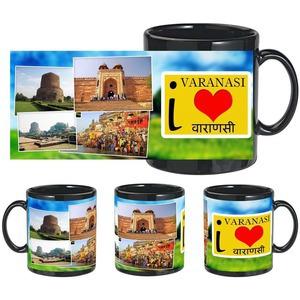 i love varanasi black mug