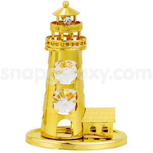 light house gold plated with swarovski crystals