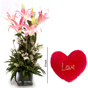 lilies in vase combo