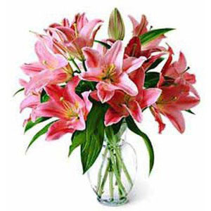 lilies in vase lily of valley