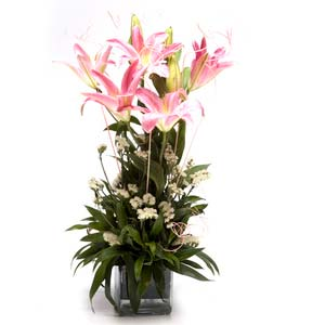 lilies square glass vase bright midnight