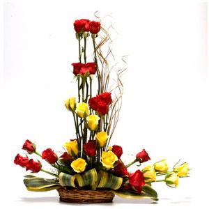 long stem yellow roses basket celebration