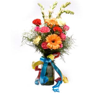 mix flowers glass vase
